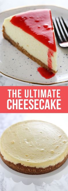 Stop right here! This is the ULTIMATE Cheesecake recipe! It took lots of testing to get a perfectly smooth and tangy cheesecake with NO CRACKS. Keep reading to get my best cheesecake tips and the full recipe! #cheesecake #dessert #baking #recipe #dessertrecipes