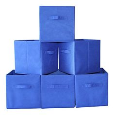 Fabric Cube Storage Bins Foldable Set of 6  Blue Premium Quality Collapsible Baskets Closet Organizer Drawers Perfect to Store Kids Toys Games Books Arts Crafts Office  Household Supplies ** Click for Special Deals #KidsBookShelves Closet Organizer With Drawers, Cube Organizer, Closet Organization, Fabric Storage Bins, Cube Storage, Storage Baskets, Bookshelves Kids, Book Shelves, Kids Toy Store