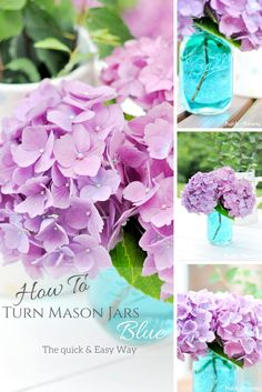 How To Turn Mason Jars Blue The Quick, Easy & Cheap Way! By Pastels & Macarons.