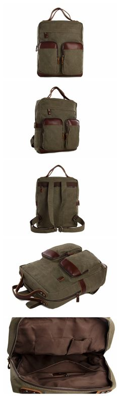 Moshi Wholesale Canvas Leather Backpack, Waxed Canvas Casual Backpack School Backpack