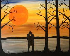 Original romantic acrylic painting, loves embrace, home decor, romance, silhouette couple art
