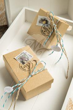 Μπομπονιέρα βάπτισης για αγόρι κουτάκι craft με vintage διακόσμηση