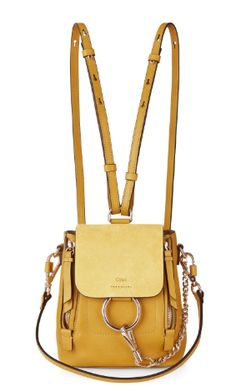 Shop now. Chloé Suede And Leather Mini Faye Backpack. Warning: Clare Waight Keller just put a mini backpack to the top of your wish list. In dusty yellow (another major spring trend) smooth and suede calfskin, the petite bag is modelled on the house's Faye handbag and features the same signature metal ring and chain hardware. The scaled-down design can be adjusted by the zips on the outside, while the cotton-canvas lined interior has a credit card pocket.