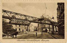 Historische Ansichtskarte / vintage picture postcard. (Wuppertal-)Vohwinkel, Kaiserplatz mit Schwebebahn (suspension monorail)