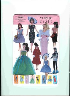 Free Copy of Vogue Craft 9686 for Barbie doll clothes Sewing Barbie Clothes, Barbie Sewing Patterns, Vogue Patterns, Doll Clothes Patterns, Clothing Patterns, Doll Patterns, Vintage Patterns, 1990s Clothes, Barbie Dress