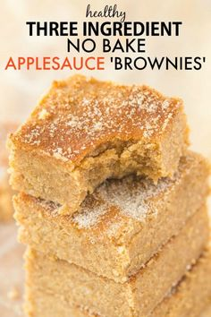 Healthy No Bake Applesauce Brownies with just THREE ingredients- So delicious, q. - Healthy No Bake Applesauce Brownies with just THREE ingredients- So delicious, quick, low in fat an - Healthy Sweets, Healthy Baking, Healthy No Bake, Healthy Menu, Dinner Healthy, Vegan Baking, Healthy Snacks, Paleo Dessert, Dessert Recipes