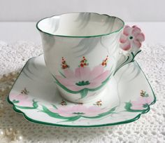 Flower Handle Collingwoods China Tea Cup & Saucer ~ Hand Painted