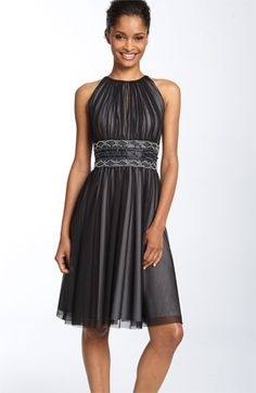 JS Boutique Cutaway Shoulder Beaded Mesh Dress available at Nordstrom