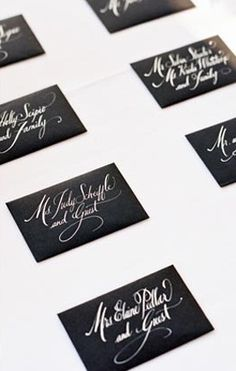 Calligraphy Escort Cards // Charlotte Jenks Lewis Photography