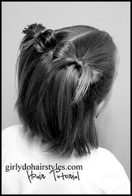 Short Hair bow Pig Tails. This site has tons of tutorials for little girl hair-dos.