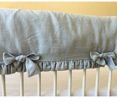 Duck Egg Blue Bumperless Crib Bedding | Handcrafted by Superior Custom Linens