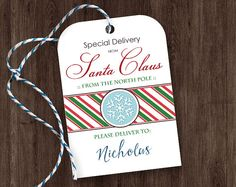 "Printable ""Special Delivery from Santa Claus"" - Editable Name - DIY Christmas Gift Tags"