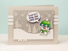 recipe - stamps: cool dudes (paper smooches) paper: smooth white (mft), fog (sss), smoke (sss) ink: black licorice hybrid (mft), sweet tooth pigment (mft), copic markers W1, W5, YR02, YR0 7, YG13, YG17, BG05, BG09 accessories: cool dudes icon dies (paper smooches), say what? die-namics (mft), tree lines die-namics (mft), snow drifts die-namics (mft), fishtail flags layers stax die-namics (mft), jody boosters