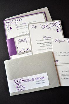 Layered Custom Wedding Invitations Purple and by JaxDesigns27 #weddings #purpleweddings