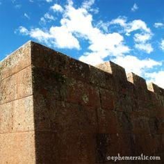 Incan merlons at the Pisac ruins, Peru