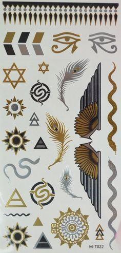 GGSELL Goldene und silberne und schwarze Metallic Temporary Tattoos Schmuck, Sonnen totoem, Feder, Schlange, Flügel und Augen: Amazon.de: Parfümerie & Kosmetik
