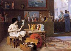"Vintage Ephemera: Painting, ""Painting Breathes Life into Sculpture"", first version by Jean-Léon Gérôme, 1893"