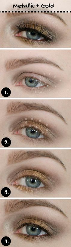 Metallic and Gold Makeup Look for Blue Eyes