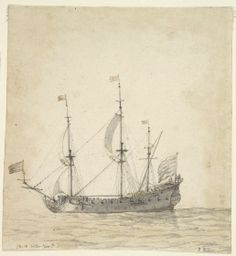 A Ship ~ Willem van de Velde the Younger, 17th century Dutch; drawing, Brown and black ink, gray wash, and graphite on cream antique laid paper, partial framing line in graphite