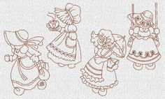 INSTANT DOWNLOAD Sunbonnet Sue Redwork Machine by embroiderygirl