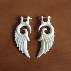Hand Carved Bone Wing Fake Gauge Earrings, Stick Post Bone Earring, Bali Bone Carving, Post Earrings Design