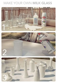 reuse old vases, bottles or jars.paint them all one color and you can use them as centerpieces Cute idea.reuse old vases, bottles or jars.paint them all one color and you can use them as centerpieces Old Vases, Diy Décoration, Bottles And Jars, Glass Bottles, Milk Glass Vase, Decoration Table, Decorations, Crafty Craft, Crafting