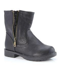 Look at this #zulilyfind! Black Studded Ankle Boot #zulilyfinds