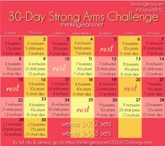 30-Day Strong Arms Challenge #workout #calendar @shrinkingjeans #fitness #exercise