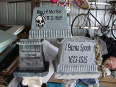Styrofoam cooler tombstones!...what a great idea!!