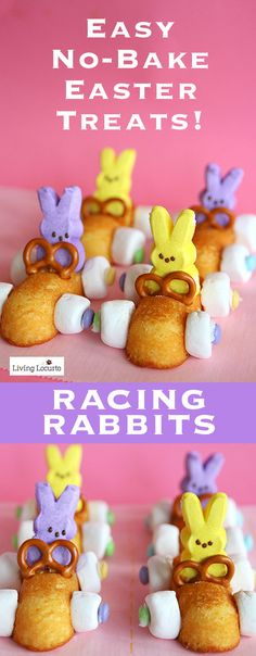 Easter Bunny Race Car Treats with Peeps. Easy No Bake Easter Treats! A few ideas that you can do in minutes with Peeps. Great treat for kids to make themselves. LivingLocurto.com: