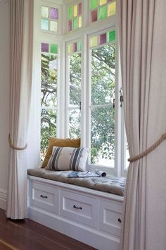 Curl up and dream of creating a space like this in your home Big Windows, Beautiful Homes, Room Decor, Storage, Inspiration, Furniture, Design, Window Seats, Reading Nooks