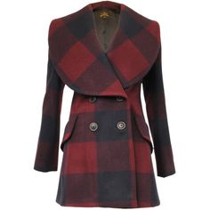 Double Breasted Check Coat, Vivienne Westwood Anglomania ($390) ❤ liked on Polyvore featuring outerwear, coats, jackets, casacos, double-breasted wool coat, checkered coat, checked coat, wool coat and vivienne westwood anglomania coat
