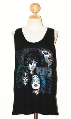 Gene Simmons of the rock band Kiss Black Women Top Singlet Tank Top Sleeveless Punk Rock T-Shirt Size L