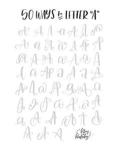 50 Ways to Letter A- Brush Lettering for Beginners的圖片搜尋結果 Lettering Brush, Hand Lettering Fonts, Calligraphy Handwriting, Doodle Lettering, Creative Lettering, Calligraphy Alphabet, Lettering Styles, Lettering Tutorial, Typography Letters
