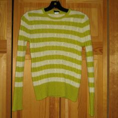 50% OFF J Crew Cashmere Blend Sweater This sweater is preloved but still in very good condition. It is a white/chartreuse striped cable knit sweater. Made of 55% wool 30% nylon 15% cashmere. Tag size is Small. J. Crew Sweaters Crew & Scoop Necks