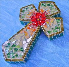 Ombre Mosaic Cross by BarbsCottage on Etsy, $37.00
