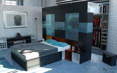 Stellar multifunctional modern bed and closet design.