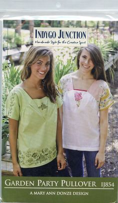 INDYGO JUNCTION Sewing Pattern GARDEN PARTY PULLOVER TUNIC IJ854 NEW! | eBay