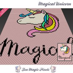 Magical Unicorn crochet blanket pattern; c2c, cross stitch; graph; pdf download; no written counts or row-by-row instructions by TwoMagicPixels, $3.99 USD