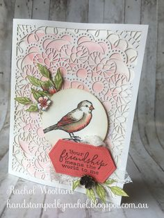 Bird Ballad - Part 2 These are the samples I made for Stampin' Up! Onstage New Zealand display boards using the Bird Ballad Suite that I u. Feather Crafts, Bird Crafts, Kylie, Bee Cards, Stampin Up Catalog, Stamping Up Cards, Animal Cards, Catalogue, Paper Cards