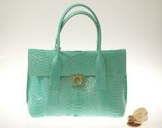 Salvatore Ferragamo Turquoise Python Teal Tote Bag $3,060