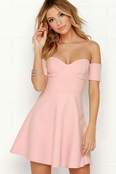 Celebrate Good Times Off-the-Shoulder Blush Pink Dress at Lulus.com!