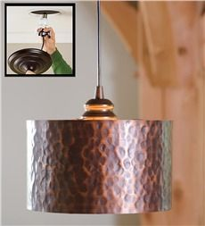 Hammered Copper Drum Shade.  Screw in to transform recessed lighting