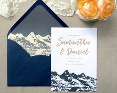 Mountain Wedding Invitation Suite - Teton Mountains - Navy and Champagne Wedding Invitations