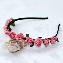Trail order baby girl Bohemian Headband rose Flower crown hairband wedding kids headband beach hair accessories 24pcs/lot(China (Mainland))