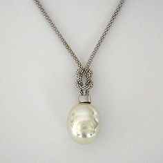 White Baroque Pearl Pendant with Love Knot SALE!!