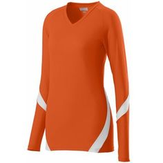 5f6b9971509f Orange and white Style 1326 Girls dig jersey. Customize at  http   Unitedteamsports