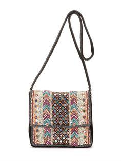 Katan Embroidered Suede Shoulder Bag