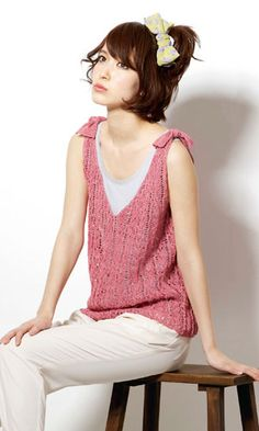 Sleeveless shirt with bows - free charted Japanese knitting pattern