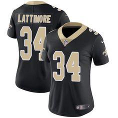 Women's Nike New Orleans Saints #34 Marshon Lattimore Limited Black Team Color NFL Jersey